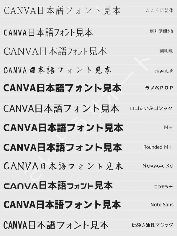 Canva日本語フォント一覧②