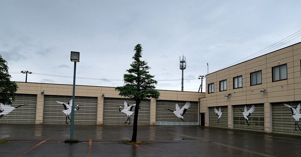 町役場の駐車場は鶴に包囲されていた
