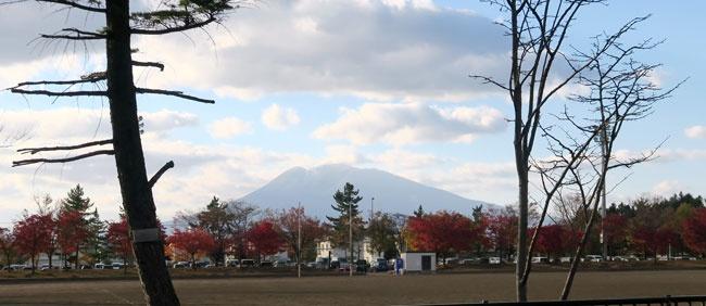 紅葉の向こうに岩木山