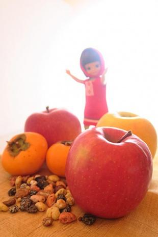 リンゴをメインにして撮影