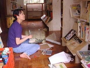 ユバの図書館で蔵書整理