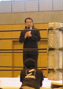 共同代表取締役の今泉昌一市議による挨拶