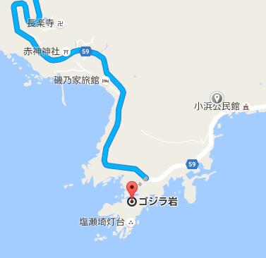 ゴジラ岩付近の地図
