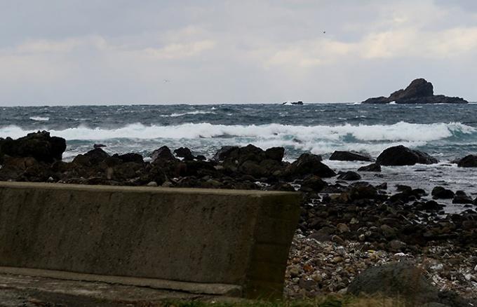 海辺を走る