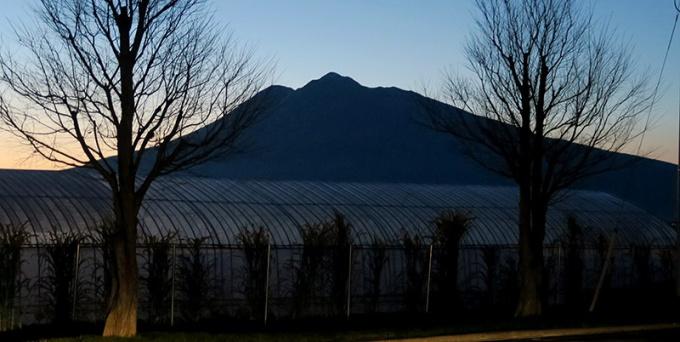 会場の駐車場から見た岩木山