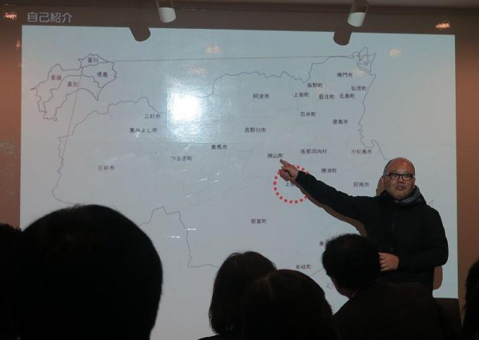徳島の地図、赤丸が上勝町、隣に神山町
