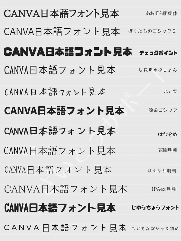 Canva日本語フォント一覧①