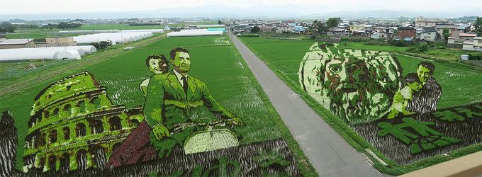 田んぼアート第一会場「ローマの休日」
