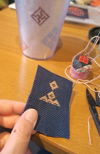 紺地にソメイヨシノの染め糸