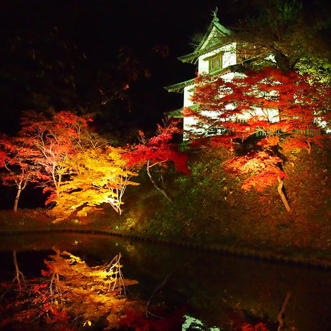櫓と紅葉とリフレクション