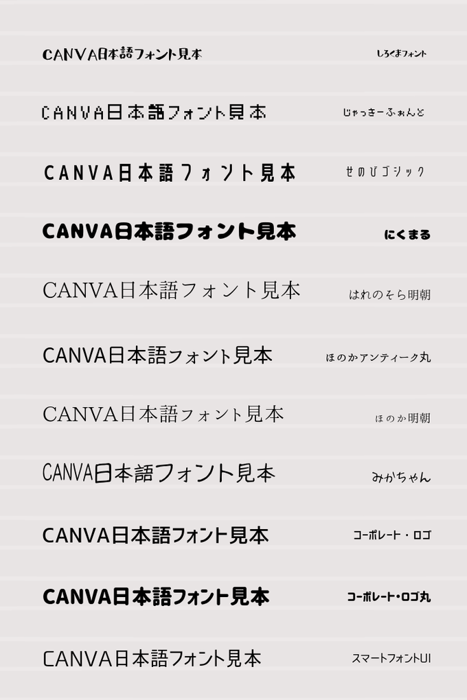 Canva日本語フォント一覧⑤