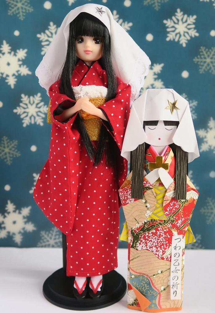 津和野の和紙人形に扮するリカちゃん