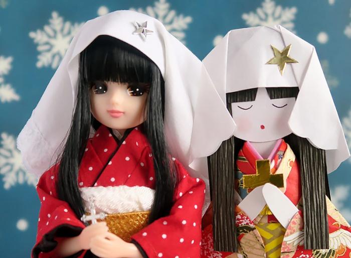 つわの乙女の祈り和紙人形と黒髪リカちゃん