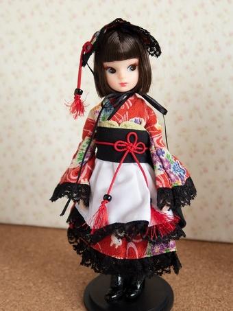 復刻版初代リカちゃんに着物ドレス