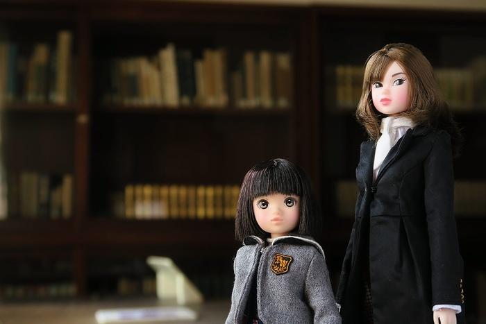 書棚をながめるrurukoとmomoko