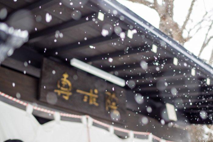 専求院の門に降る雪